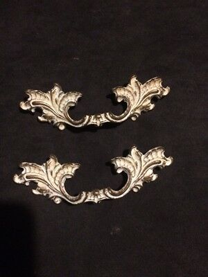 Vtg Lot Of  2Brass / White Wash Finish French Provincial Drawer Pulls Nl Co.