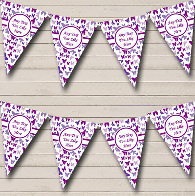 Party Banner Bunting Beautiful Purple Butterfly Shabby Chic Garden Tea