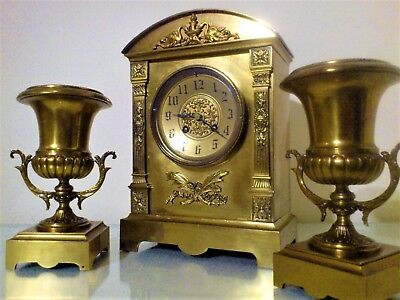 Antique Classical French Gilt Brass Mantel Clock Garniture.