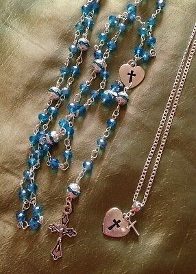 """🌸Lake  Blue Crystal Rosary& 925 18"""" Chain+Heart Cross/in A Box."""