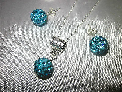 """Sterling Silver*CHAIN 28""""/stud EARINGS DIMONTIE BALLS/sleeve Bx"""