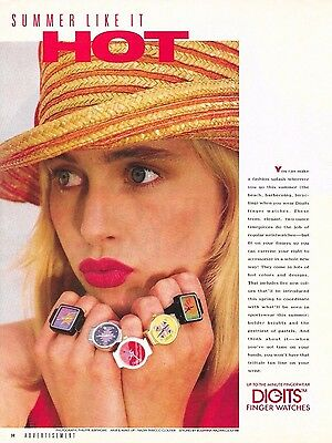 Vintage Digits Finger Watches Ring Watch Magazine Advertisement 1988 Ad