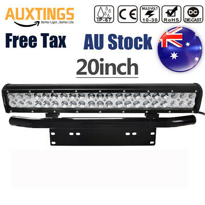 20inch 210w Spot Flood Combo Led Light Bar OffRoad SUV+License plate bracket AU