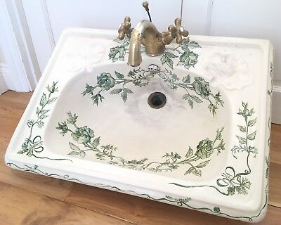 Antique Victorian Sink Basin French Hand Painted Green Floral Brass Taps