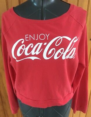 Coca Cola Mighty Fine Womans Size XL Red White cotton Long Sleeved Jersey Shirt