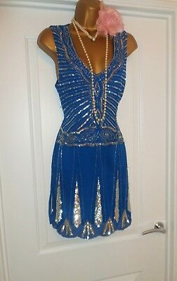 1920s Style Gatsby Flapper Charleston Beaded Sequin Dress Size 14