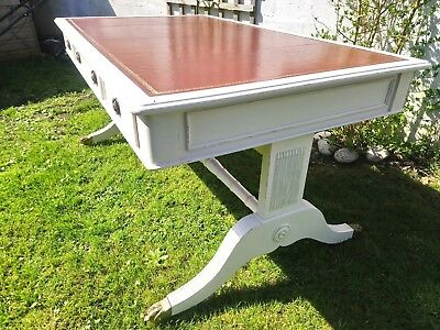 Painted Reproduction Mahogany Leather Library Table, Office Desk.