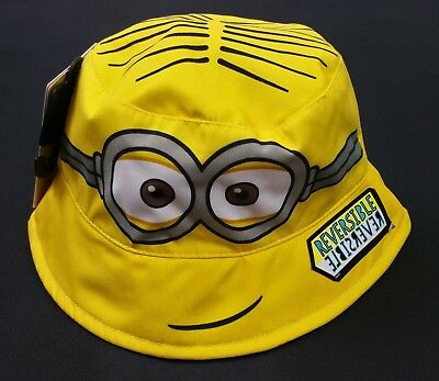 UNISEX Boys/Girls Yellow MINIONS *REVERSIBLE* Sun Hat Cap 6-18 Mths BNWT UPF 50+