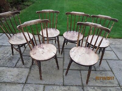 Six Windsor Antique Penny Seat Spindle back Kitchen or Dining Room Chairs