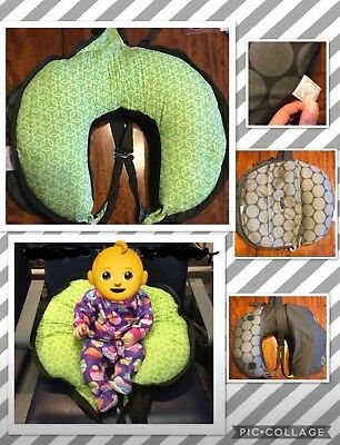 TRAVEL BOPPY Gray Dots Green Inside Zips Shut With Shoulder Straps, Very Handy!!