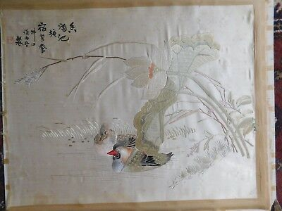 Antique Chinese Silk Hand Embroidered Panel, Mandarin Ducks, 63 X 51 Cm