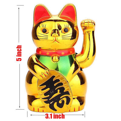5inch Chinese Lucky Waving Golden Cat Feng Shui Figure with Moving Arm Fortune