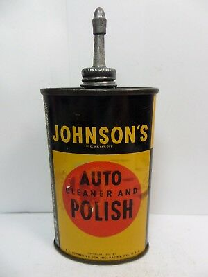 VINTAGE VERY RARE 1940's JOHNSON'S AUTO POLISH OIL TIN CAN HANDY OILER LEAD TOP