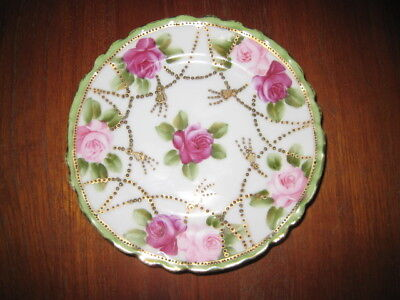 """Antique Hand Painted Moriage Nippon Plate (6 1/4"""" diamter) Maple Leaf Mark"""