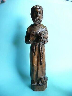 Antique Italian Olivewood St Francis Statue, with monogram.......ref1040