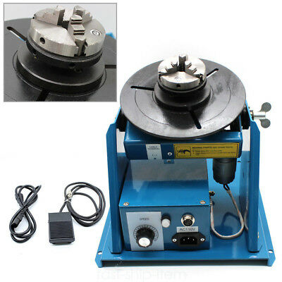 "110V 2.5"" Rotary Welding Positioner 3 Jaw Turntable Table Lathe Chuck 2-10r/min"
