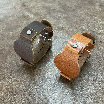 Size 16/18/20/22mm Military Bund Style Cow Leather Cuff Watch Strap Band #131A
