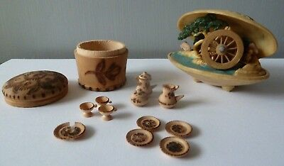 Vintage Japanese Celluloid Clam with Water Wheel & a Miniature Wooden Tea Set