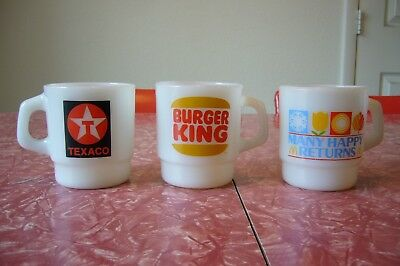 Fire King Anchor Hocking Mug BURGER KING TEXACO McDonald's MANY HAPPY RETURNS