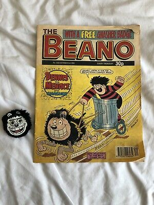 Vintage Beano comic October 92 With Gnasher Badge