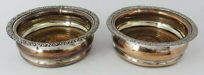 PAIR WILLIAM IV OLD SHEFFIELD PLATE BOTTLE COASTERS c1830 (Old Woodworm Holes)