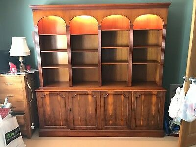 USED Large Reproduction Yew Bookcase On Cupboards By Bradley's England