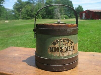 Antique Primitive Brick's Mince Meat Firkin Country Store Advertising