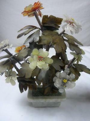 Antique Chinese Jade and Carnelian Flower Planter