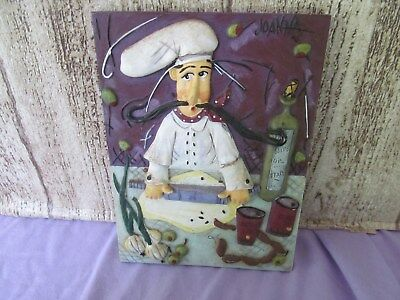 "Joanna Resin Chef plaque 4 1/2"" wide 6 1/4""  chef with rolling pin"