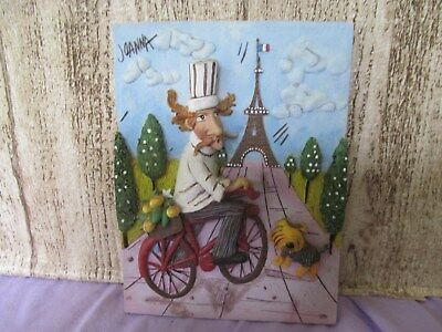 "Joanna Resin Chef plaque 4 1/2"" wide 6 1/4""  chef on bike"