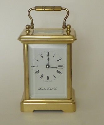 Carriage clock, brass, by The London Clock Company. Very good condition.