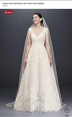 Davids Bridal Single Tier Cathedral Veil, Ivory with Lace Crystal Edge