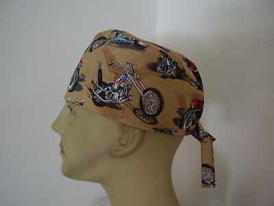 Surgical Scrub Cap/Tieback Hat - Motorcycles - One size