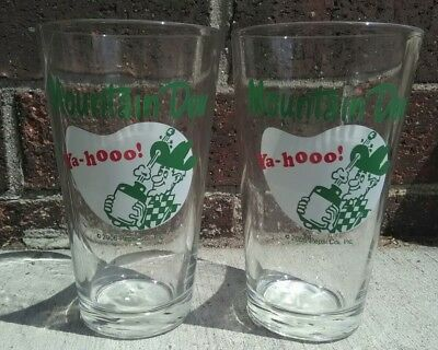 2 X Mountain Dew Hillbilly Pint Glasses 2006 New With Tags Pepsico