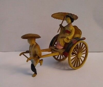 Vintage Antique Painted Celluloid Boy Pulling Geisha In Rickshaw Japan