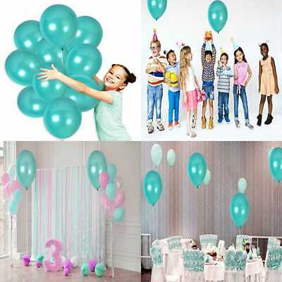 """100Pcs Of 12"""" Ultra Thick Latex Balloons TURQUOISE Pearl TEAL Metallic Decoratio"""
