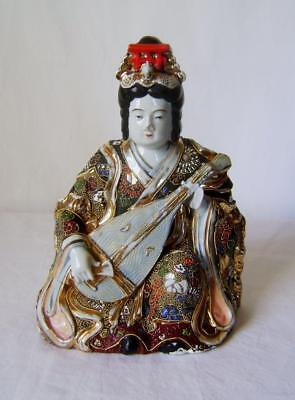 Antique Japanese Satsuma Porcelain Figure of Benten playing a Biwa ( Lute)  A/F