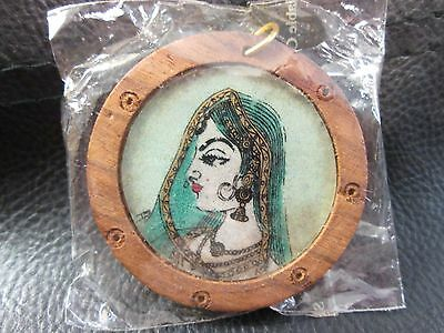 Handmade Sand Painting Art Keychain New Sealed Package From India ~ Woman