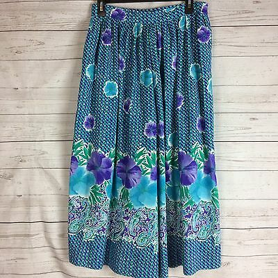 Vintage Koret Colorful Floral Gaucho Capri Skirt Size 12 Green Purple Union Made