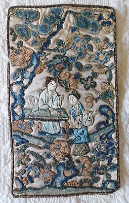 Antique Chinese Embroidered Motifs, Forbidden Stitch, Figural Scene