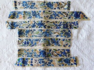 X7 Lengths Of Antique Chinese Hand Embroidered Silk Panels, Crickets / Insects