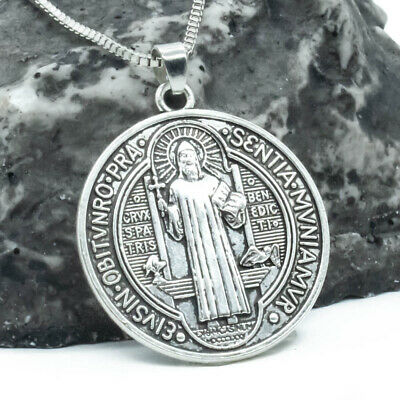 "Saint St Benedict Of Nursia Cross Medal 1 1/4"" Pendant Necklace 24"" Box Chain"