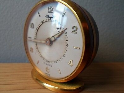 Early Jaeger Memovox 8 day travel alarm clock gold plated brass & enamel 15jewel