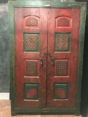 Hand carved solid cedar Armoire, Wardrobe or Closet made in Pakistan (2 doors)