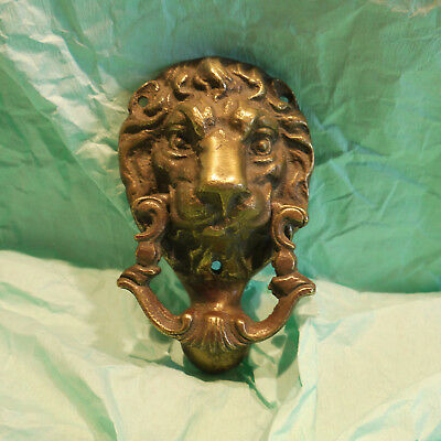 Vintage Brass Lion Head Door Knocker Incorporated Strike Plate