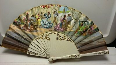 Vintage Spain Inspired Linen and Wood Folding Ladies Fan
