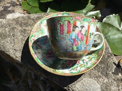 Antique Chinese Famille Rose Cup And Saucer Canton Enamelled 19th Century
