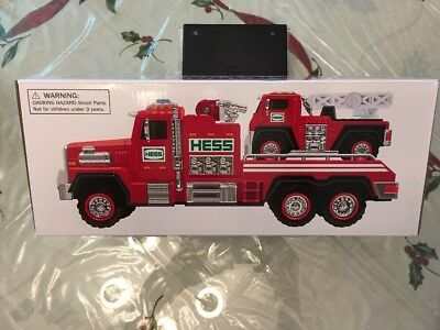 NIB 2015 Hess Fire Truck, Ladder Rescue Collectible Sounds, Searchlight, Ramp