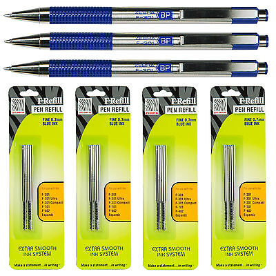 Zebra F-301 Retractable Pens With F Refills, Blue Ink, 0.7mm Fine Point