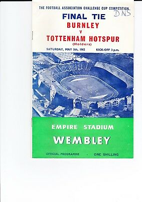 1962 Fa Cup Final Tottenham V Burnley Official Programme
